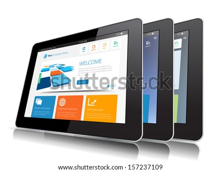 This image represents a Internet Tablet vector. / Internet Tablet / Internet Tablet - stock vector