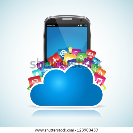 This image represents a SmartPhone conected to the cloud. / SmartPhone Cloud - stock vector