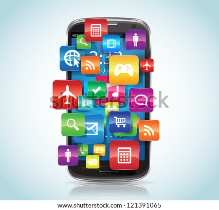 This image represents a SmartPhone with Apps. / SmartPhone - stock vector