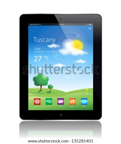 This image represents a Tablet Travel with a weather widget. - stock vector