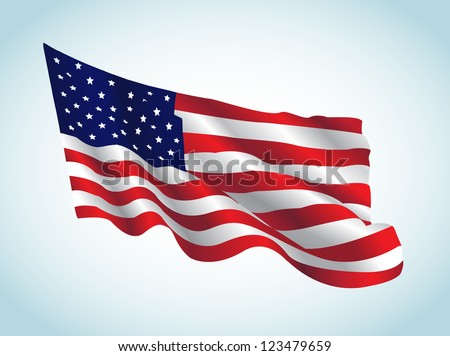 This image represents an american flag in a july day. / US Flag - stock vector