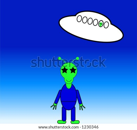 This is a alien and a UFO. - stock vector