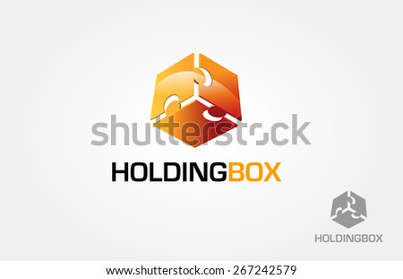 This is a box made from three puzzle, this logo symbolize a unity, togetherness, group, some things that strength inseparable from each other, holding each other. - stock vector