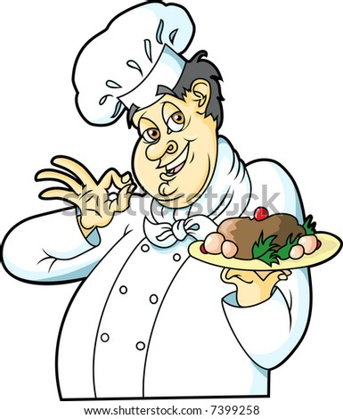 This is a Chef presenting a dish. - stock vector
