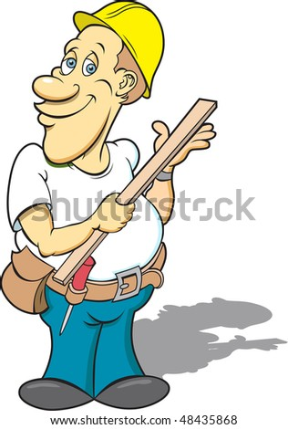 This is a construction worker ready for work.  This illustration was created in four separate layers for easy editing. - stock vector