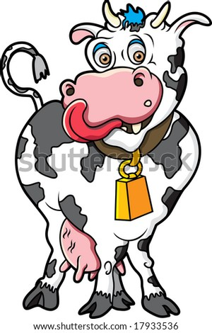 This is a cute cow ready to be milked. - stock vector