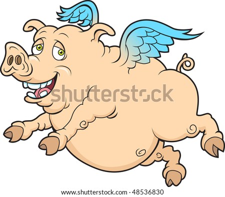 This is a flying pig.  The illustration is done in layers for easy editing. - stock vector