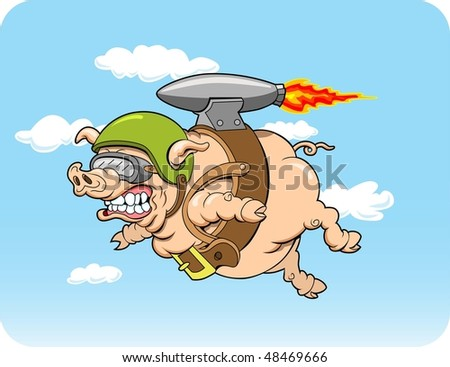 This is a flying pig with a jet pack.  The illustration is done in four layers for easy editing. - stock vector