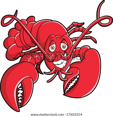 This is a lobster, red and ready. - stock vector