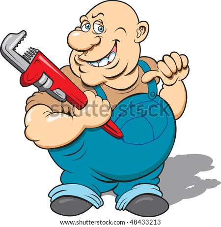 This is a plumber with his wrench ready to go to work.  The image is in four separate layers for easy editing. - stock vector