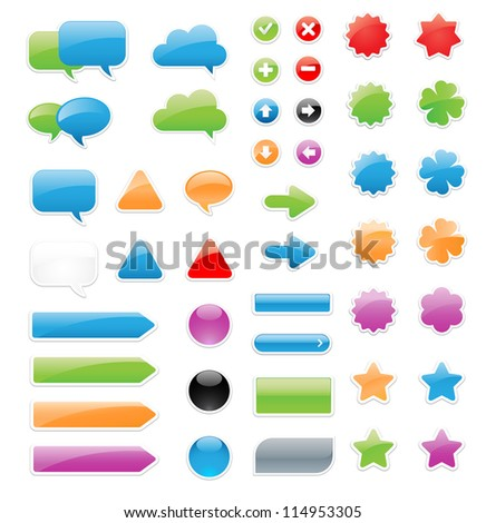 This is a set of customizable label elements and stickers. / Label Elements - stock vector