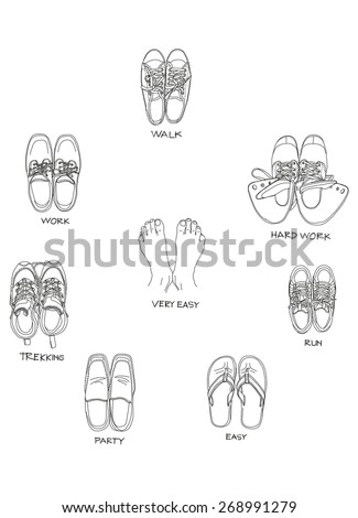 This is a shoe for life. This is vector file created by hand sketch.(reference with my photo) - stock vector
