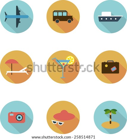 This is a travel set flat design icons. Here you can find plane, car, ship, coctail,suitcase, camera,hat,palm and sunbed. Perfect choise for infographic, web and at your will. - stock vector