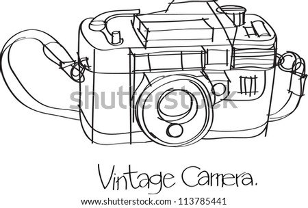 This is a vector file of Vintage camera.This file is sketch on my imagination - stock vector