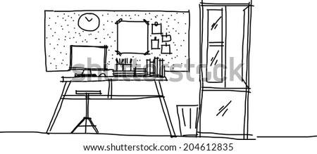 This is a Working room in a vector file.sketch on my imagination - stock vector