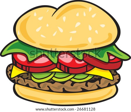 This is an illustration of a tasty hamburger. - stock vector