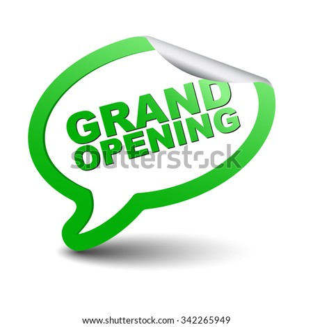 This is green vector element bubble grand opening - stock vector
