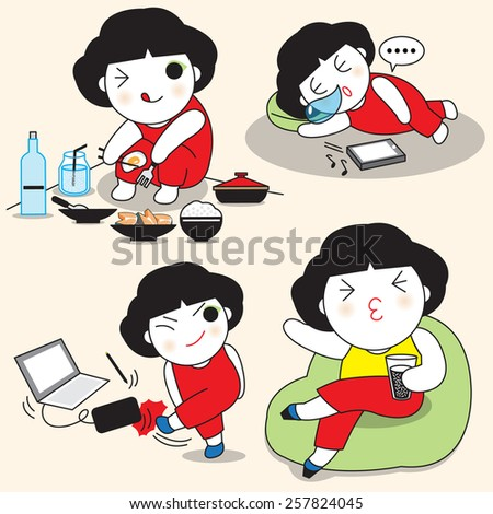 This is How Girls Spend Her Weekend illustration set - stock vector