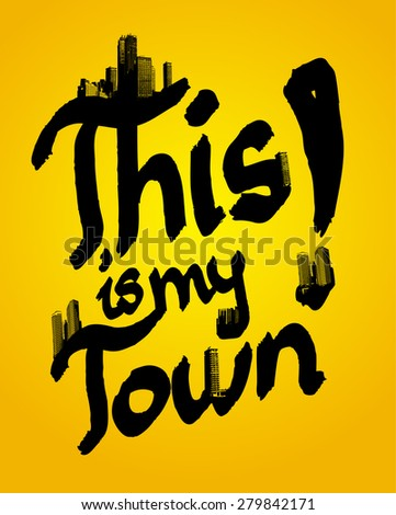 This is my town illustration combined with skyscrapers. - stock vector