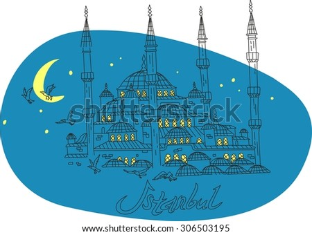 This is perfect linear hand drawn style illustration of Blue Mosque. The most famous landmark. Perfect for web, banners, advertising and at you will. - stock vector