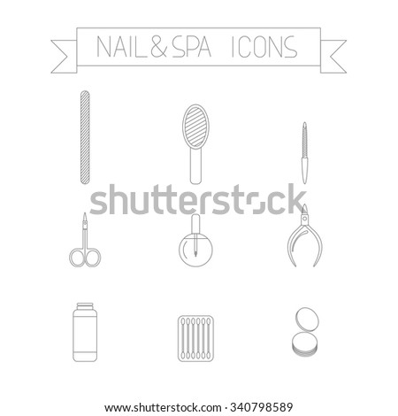 This is perfect thin line icons of nail and spa icons. There are tools for manicure and pedicure for your web needs. Cotton buds, files, cuticle oil, scissor, nail polish remover - stock vector