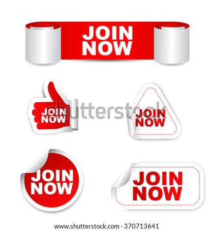 This is red set vector paper stickers join now - stock vector