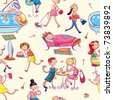 this is seamless ornamental pattern for women, kids, magazines , web sites, textile industry - stock vector