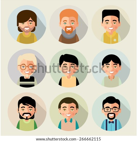 This is set of cartoon characters of boys. In the flat style. For avatars. eps8 - stock vector
