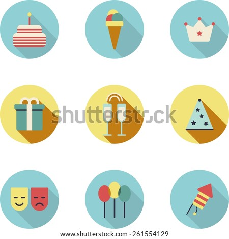This is set of flat design icons of holiday topic. All you need for party is there. There are 9 icons including cake, ice-cream, crown, gift box,glass with champagne,party hat, mask,balloon,firework - stock vector
