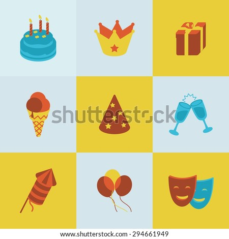 This is set of isometric colorblock design icons of birthday.There are nine icons including cake, ice-cream, crown, gift box,glass with champagne,party hat, mask,balloon,firework - stock vector
