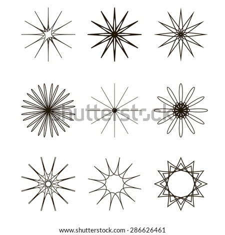 This is set of 9 spirograph or round ornament or geometric circle isolated - stock vector