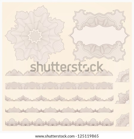 This is set of watermarks and borders. Guilloche pattern for banknote, diploma, certificate, note, currency, voucher or money design. EPS 8 - stock vector