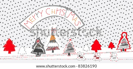 this is X-mas card for kids, magazines , web sites, textile industry - stock vector