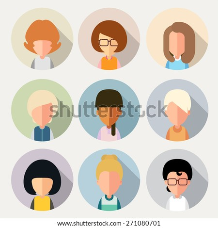This set of stylized, simplified cartoon characters of girls. For avatars. eps8 - stock vector