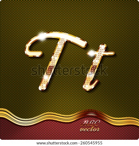 """This stylish gold cursive letters. There are inlaid with a capital """"T"""" and the lowercase letter """"t"""". They have shadows and highlights.The rest of numbers and letters of the alphabet in my portfolio. - stock vector"""