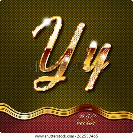 """This stylish gold cursive letters. There are inlaid with a capital """"Y"""" and the lowercase letter """"y"""". They have shadows and highlights.The rest of numbers and letters of the alphabet in my portfolio. - stock vector"""