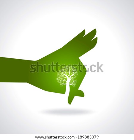 This vector background has a hand with tree  - stock vector