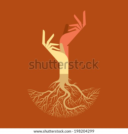 This vector background has a hand with tree roots - stock vector