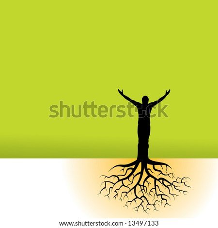 This vector background has a man with tree roots - stock vector