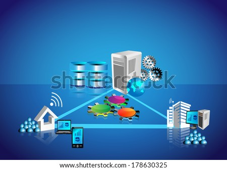 This Vector illustrates how people and employees connecting various systems like legacy, database, web and enterprise applications from different locations like home, work place through VPN, MPLS. - stock vector
