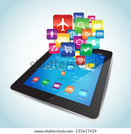 This vector image represents a Tablet with Apps icons. - stock vector