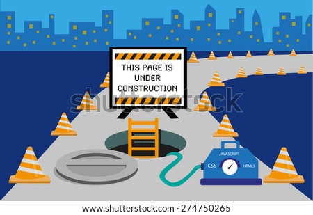 This Webpage is Under Construction concept. A manhole with warning sign and traffic cones on a road as a symbol of web development's work in progress. - stock vector