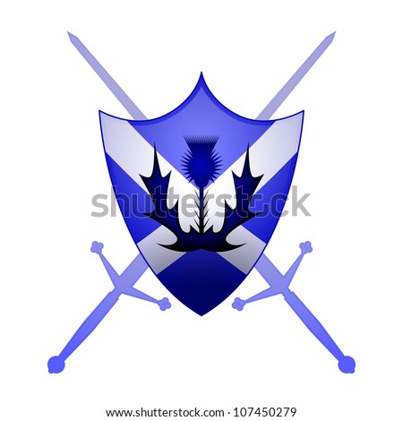 Thistle and Claymore swords with a St. Andrews cross sheild - stock vector