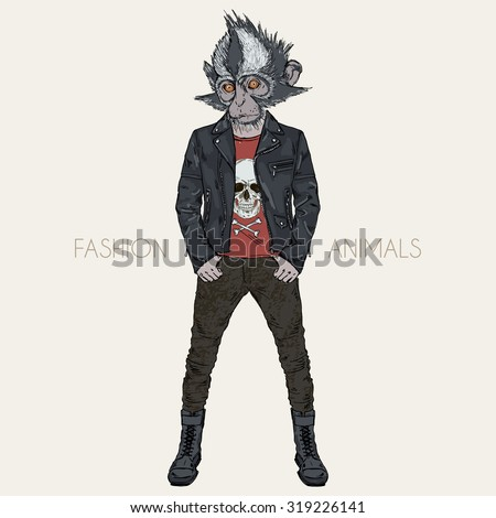Thomass leaf monkey dressed up in punk style, hipster animal, furry art illustration - stock vector