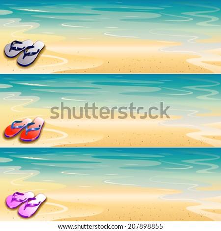 thong banner set - stock vector