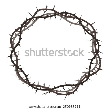 thorn crown on the white background - stock vector