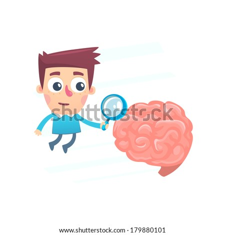 thorough study of the brain - stock vector