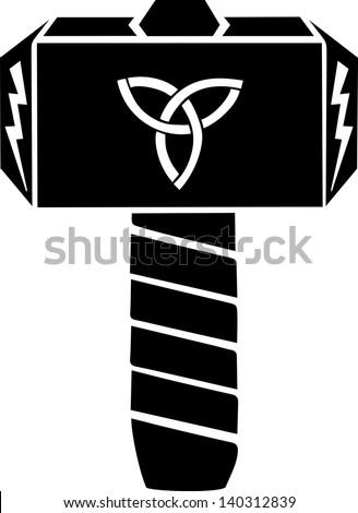 Thors Hammer - Vector Design - Triquetra & Flash - stock vector