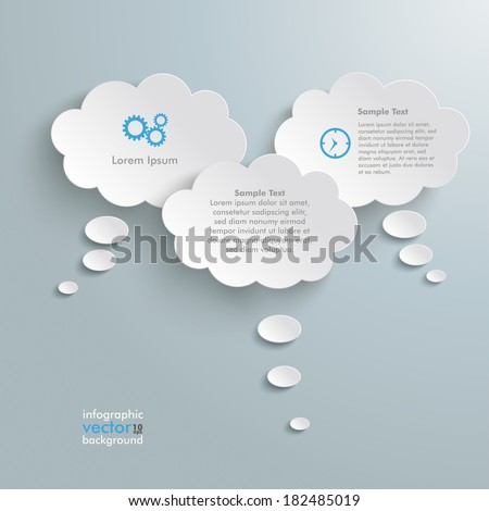 Thought bubbles on the grey background. Eps 10 vector file. - stock vector