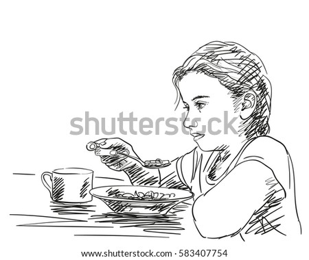 Thoughtful Little Girl Eating Food Spoon Stock Vector 583407754 - Shutterstock